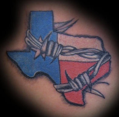 Texas in barb wire tattoo