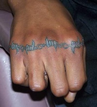 Barbed wire knuckle tattoo
